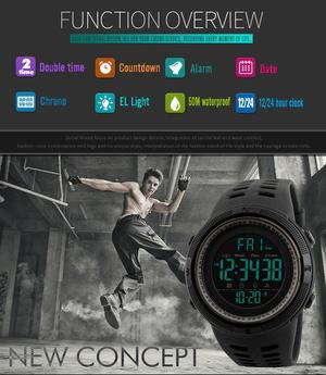 jam tangan digital led warna hitam